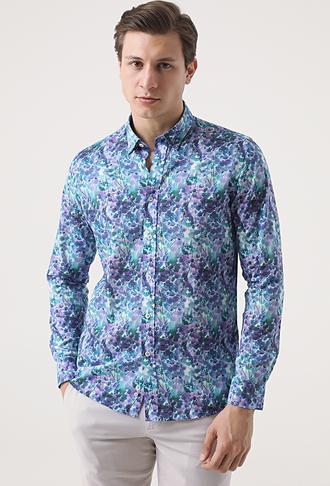 Tween Slim Fit Lacivert Desenli Baskılı Gömlek - 8681649468028   D'S Damat