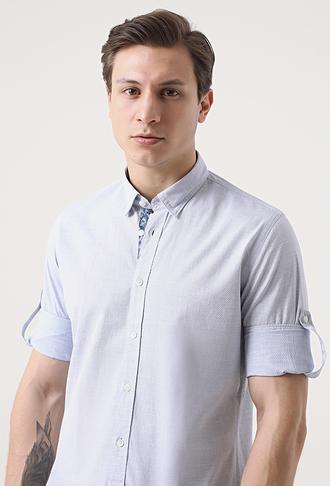 Tween Slim Fit Mavi Desenli Gömlek - 8681649476252 | Damat Tween