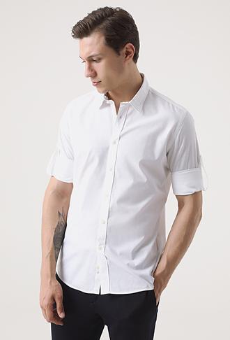 Tween Slim Fit Beyaz Desenli Gömlek - 8681649476412 | Damat Tween