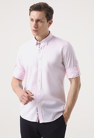 Tween Slim Fit Pembe Desenli Gömlek - 8681649476580 | Damat Tween