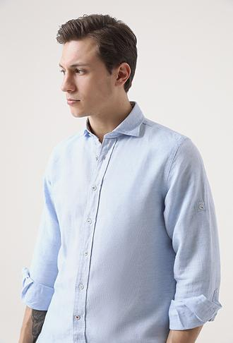 Damat Comfort Mavi Desenli Gömlek - 8681649670629 | Damat Tween