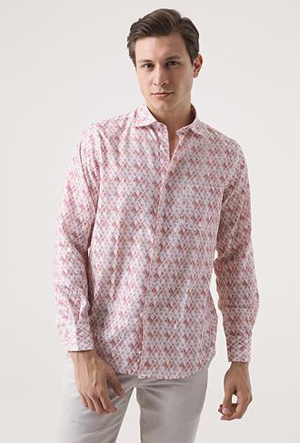 Damat Comfort Kırmızı Desenli Baskılı Gömlek - 8681649158875 | Damat Tween