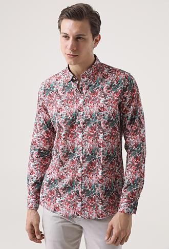 Tween Slim Fit Kırmızı Desenli Baskılı Gömlek - 8681649468103   Damat Tween