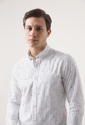 Tween Slim Fit Beyaz Çizgili Gömlek - 8681649522751   D'S Damat