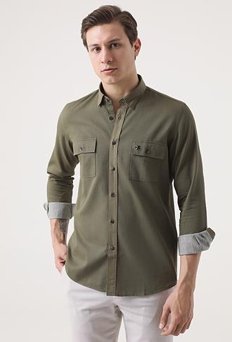Tween Slim Fit Haki Düz Gömlek - 8681649280569 | Damat Tween