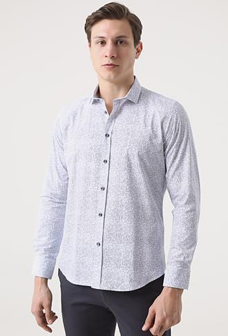 Twn Slim Fit Lacivert Baskılı Gömlek - 8682445012767 | D'S Damat