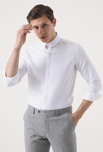 Twn Slim Fit Beyaz Armürlü Gömlek - 8682445196498 | D'S Damat