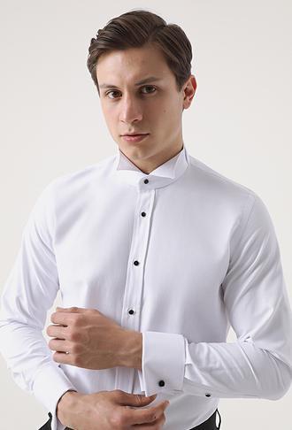 Ds Damat Slim Fit Beyaz Düz Smokin Gömlek - 8682445176735 | D'S Damat