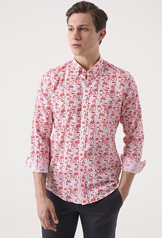 Ds Damat Slim Fit Kırmızı Baskılı Gömlek - 8682445311846   D'S Damat