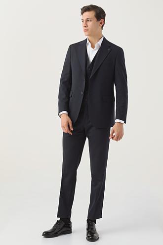 Damat Regular Fit Lacivert Yelekli Takım Elbise - 8682364708710 | Damat Tween