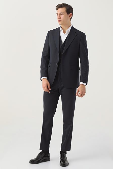 Damat Regular Fit Lacivert Yelekli Takım Elbise - 8682364708710   Damat Tween