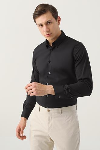 Tween Slim Fit Siyah Düz Gömlek - 8682364659098 | Damat Tween