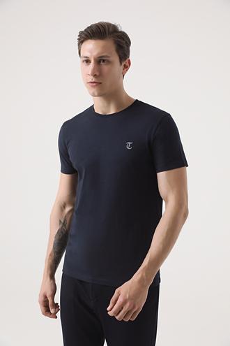 Twn Slim Fit Lacivert Düz T-shirt - 8682445164817   D'S Damat