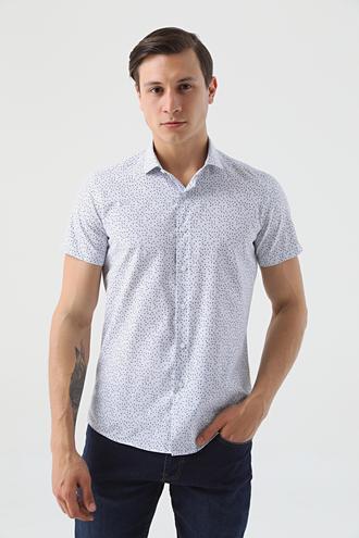 Twn Slim Fit Beyaz Baskılı Gömlek - 8682445087406 | D'S Damat