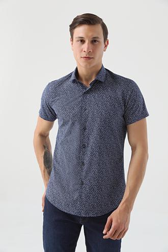Twn Slim Fit Lacivert Baskılı Gömlek - 8682445087239 | D'S Damat