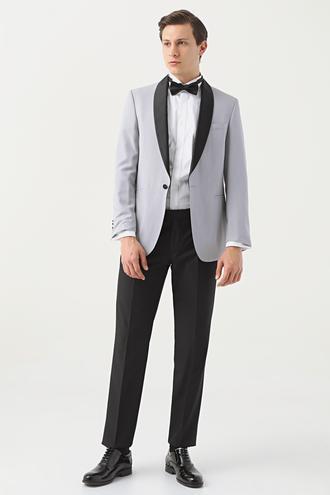 Ds Damat Slim Fit Gri Armürlü Smokin Takım Elbise - 8682060618900   D'S Damat