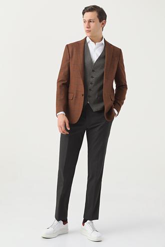 Ds Damat Slim Fit Camel Ekoseli Kombinli Takım Elbise - 8682060902887 | D'S Damat