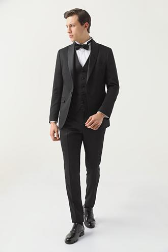 Twn Slim Fit Siyah Armürlü Smokin Yelekli Takım Elbise - 8682445071955 | D'S Damat