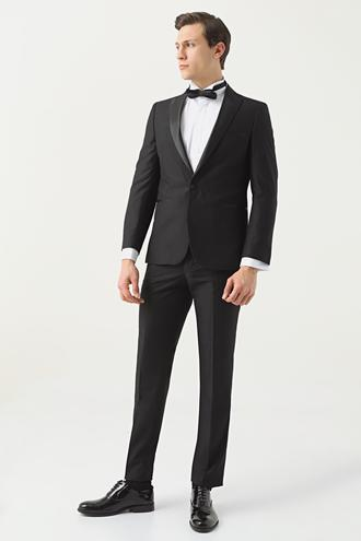 Twn Slim Fit Siyah Düz Smokin Takım Elbise - 8682445231335 | D'S Damat