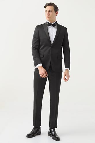 Ds Damat Slim Fit Siyah Jakar Desenli Smokin Takım Elbise - 8682445243116   D'S Damat
