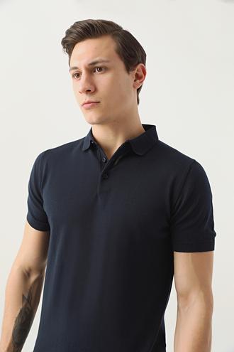 Ds Damat Slim Fit Lacivert Düz T-shirt - 8682445126778 | D'S Damat