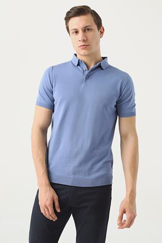 Ds Damat Slim Fit Mavi Düz T-shirt - 8682060954497 | D'S Damat