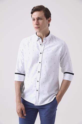 Twn Slim Fit Beyaz Baskılı Gömlek - 8682445127362 | D'S Damat