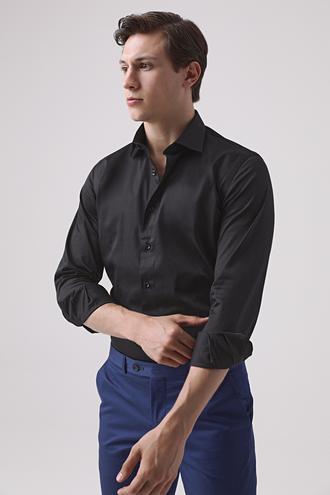 Ds Damat Slim Fit Siyah Düz Gömlek - 8682445047325 | D'S Damat