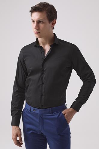 Twn Slim Fit Siyah Düz Gömlek - 8682445086225 | D'S Damat