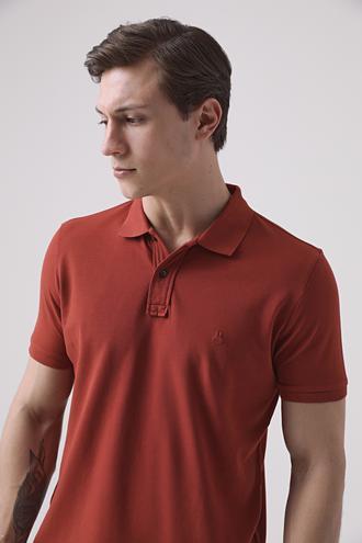 Ds Damat Regular Fit Kiremit Pike Dokulu T-shirt - 8682445030129   D'S Damat