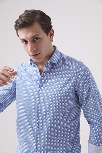 Twn Slim Fit Lacivert Baskılı Gömlek - 8681778880500   D'S Damat