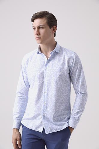 Twn Slim Fit Mavi Baskılı Gömlek - 8681778890127   D'S Damat
