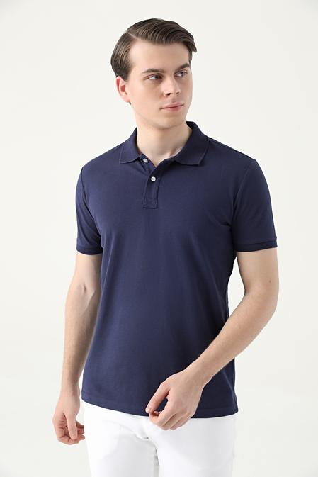 Ds Damat Slim Fit Lacivert Çizgili T-shirt - 8682445266900   D'S Damat