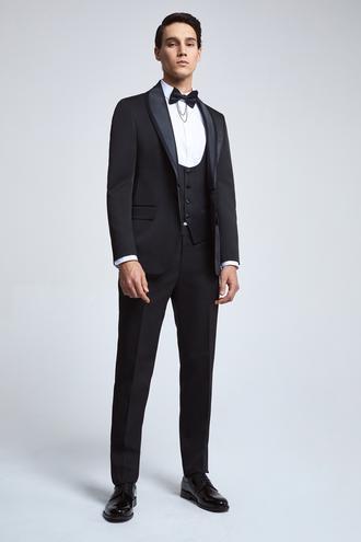 Ds Damat Slim Fit Siyah Armürlü Smokin Yelekli Takım Elbise - 8682445245646 | D'S Damat