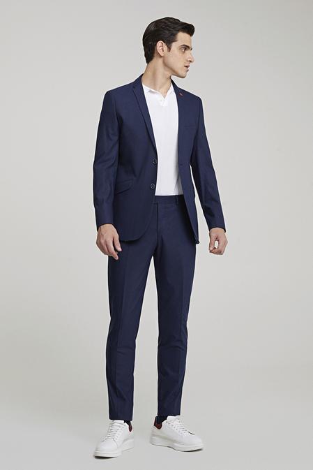 Twn Slim Fit Lacivert Armürlü Takım Elbise - 8682445341348   D'S Damat