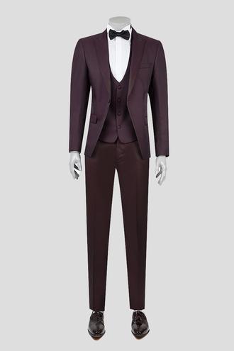 Ds Damat Slim Fit Bordo Jakar Desenli Smokin Takım Elbise - 8681494799421 | D'S Damat