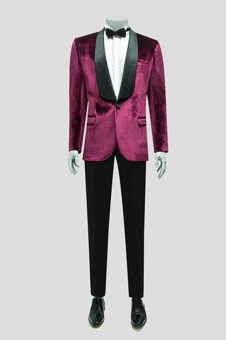 Twn Süper Slim Fit Bordo Smokin Takım Elbise - 8681778604243 | D'S Damat