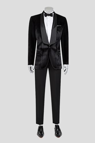 Twn Süper Slim Fit Siyah Kadife Smokin Takım Elbise - 8681778734506 | D'S Damat
