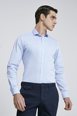 Twn Slim Fit Mavi Düz Gömlek - 8682445044799 | D'S Damat