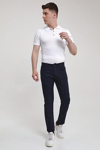 Ds Damat Slim Fit Lacivert Armürlü Chino Pantolon - 8682445190427   D'S Damat