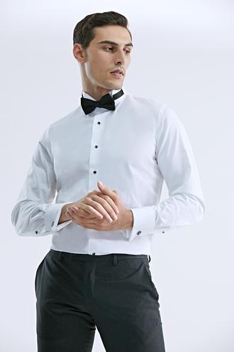 Damat Slim Fit Beyaz Düz Smokin Gömlek - 8682364720835   Damat Tween