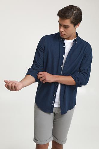 Ds Damat Slim Fit Lacivert Keten Görünümlü Gömlek - 6725695026244 | D'S Damat