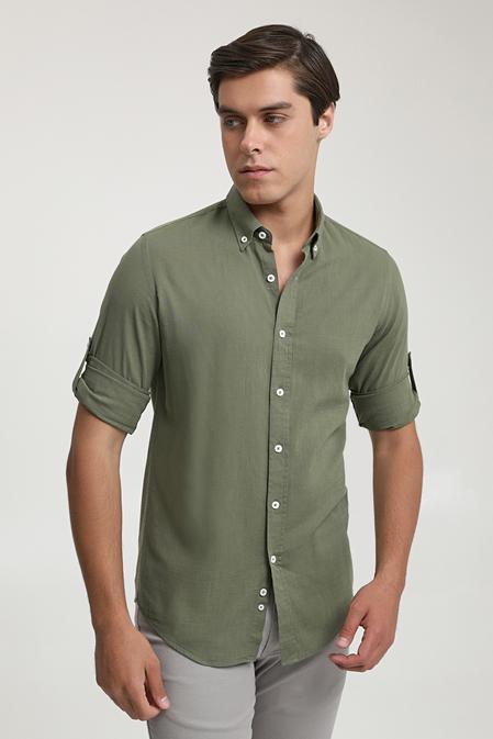 Ds Damat Slim Fit Haki Keten Görünümlü Gömlek - 6725695026381   D'S Damat