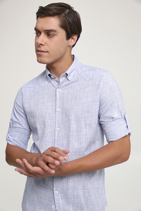 Ds Damat Slim Fit Lacivert Keten Görünümlü Gömlek - 6725695026916   D'S Damat