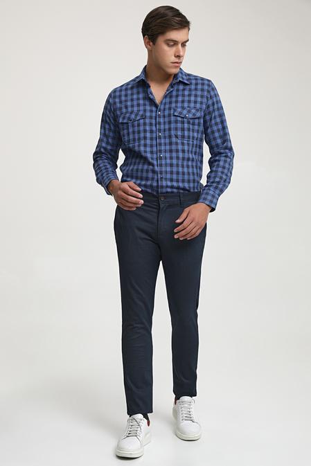 Ds Damat Slim Fit Lacivert Chino Pantolon - 8682445180749 | D'S Damat