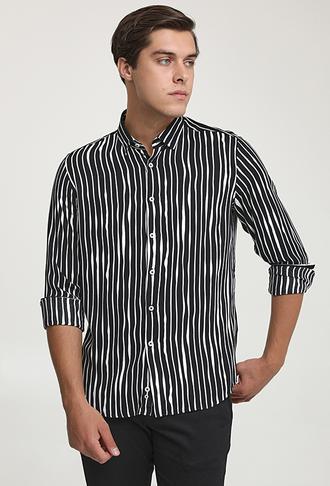 Twn Slim Fit Siyah Baskılı Gömlek - 8682060939029 | D'S Damat