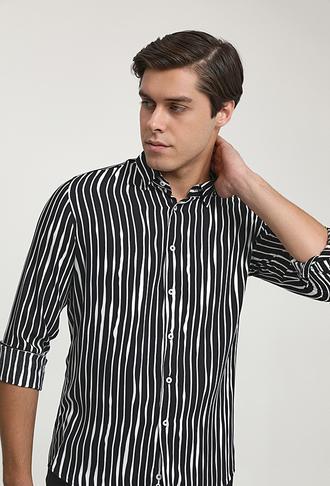 Twn Slim Fit Siyah Baskılı Gömlek - 8682445196016 | D'S Damat