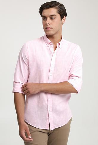 Ds Damat Slim Fit Pembe Keten Görünümlü Gömlek - 6725695026497 | D'S Damat