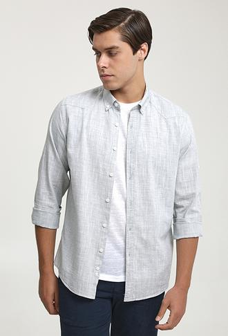 Ds Damat Slim Fit Haki Keten Görünümlü Gömlek - 6725695027050 | D'S Damat