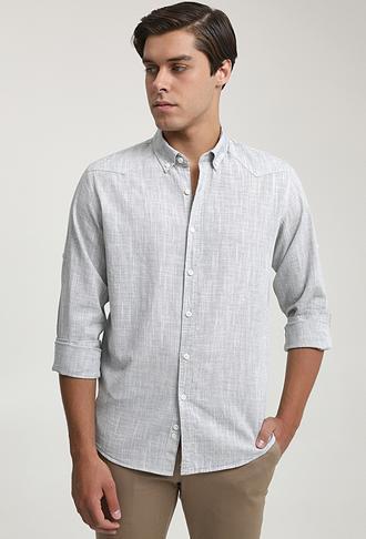 Ds Damat Slim Fit Haki Keten Görünümlü Gömlek - 6725695027050   D'S Damat